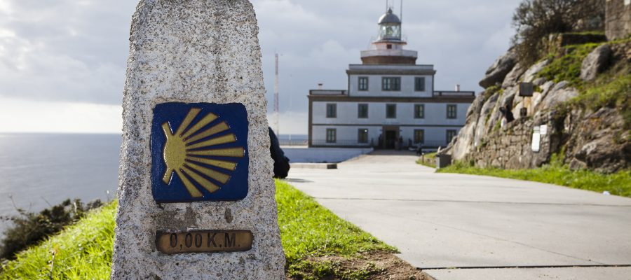 Milestone at Finisterres?lighthouse, the end of the St. James Way (Camino de Santiago)